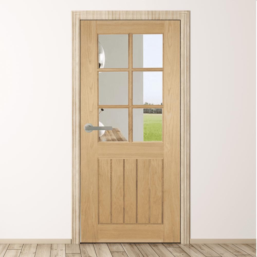 Oak Mexicana 6 Light Clear Glass Internal Door Green