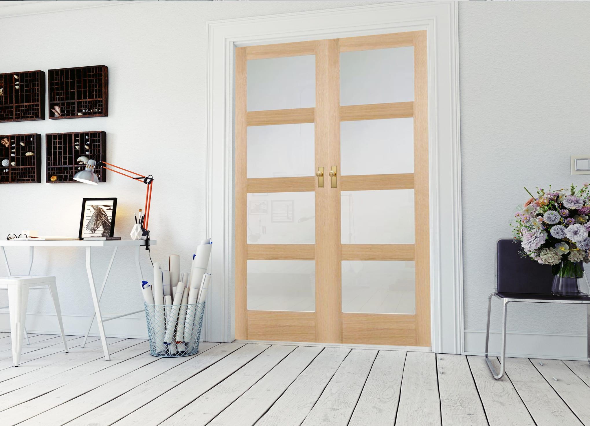 Oak Shaker 4 Light Frosted Glass Internal Door Pair