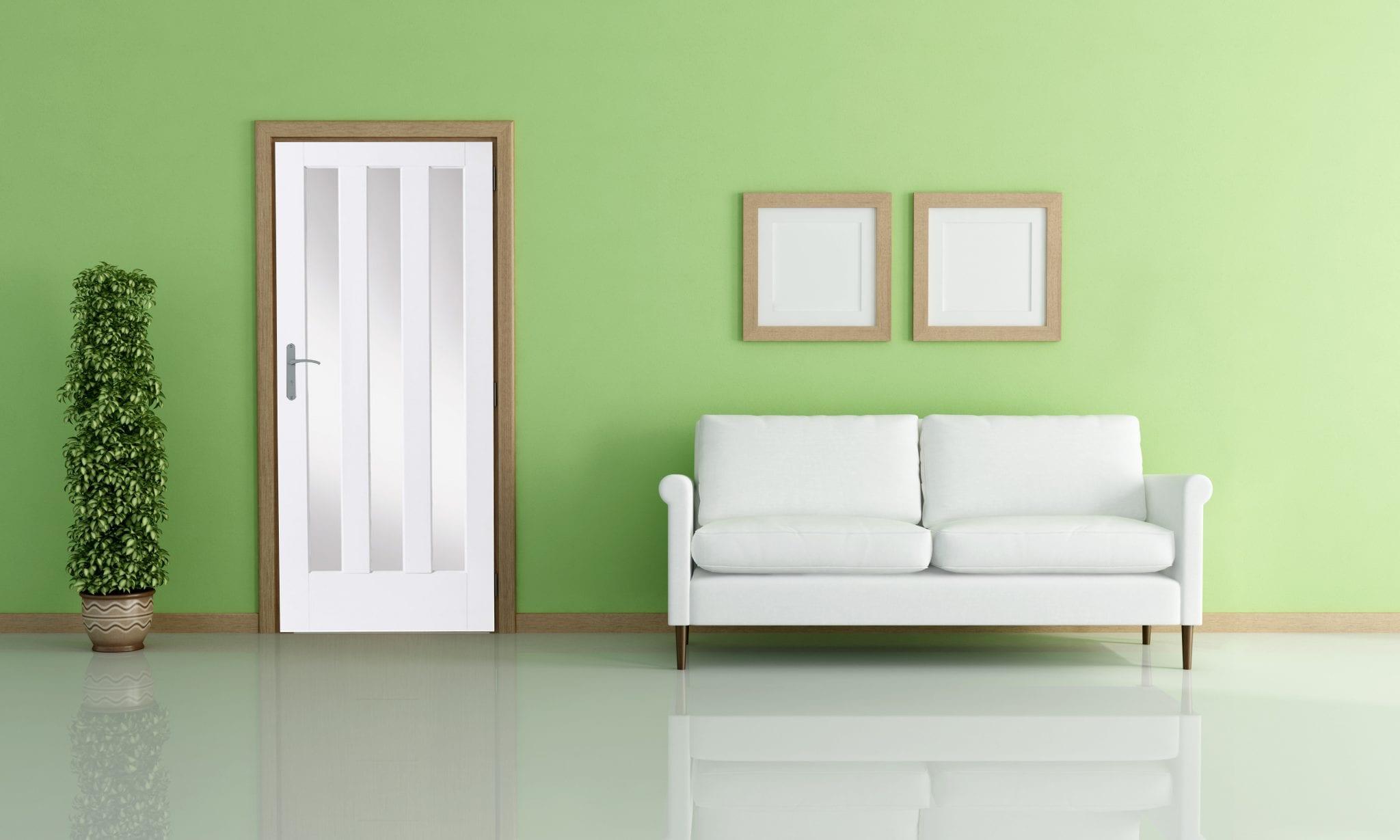 White Primed Aston Frosted Glass Door Amp Frame Kit Green