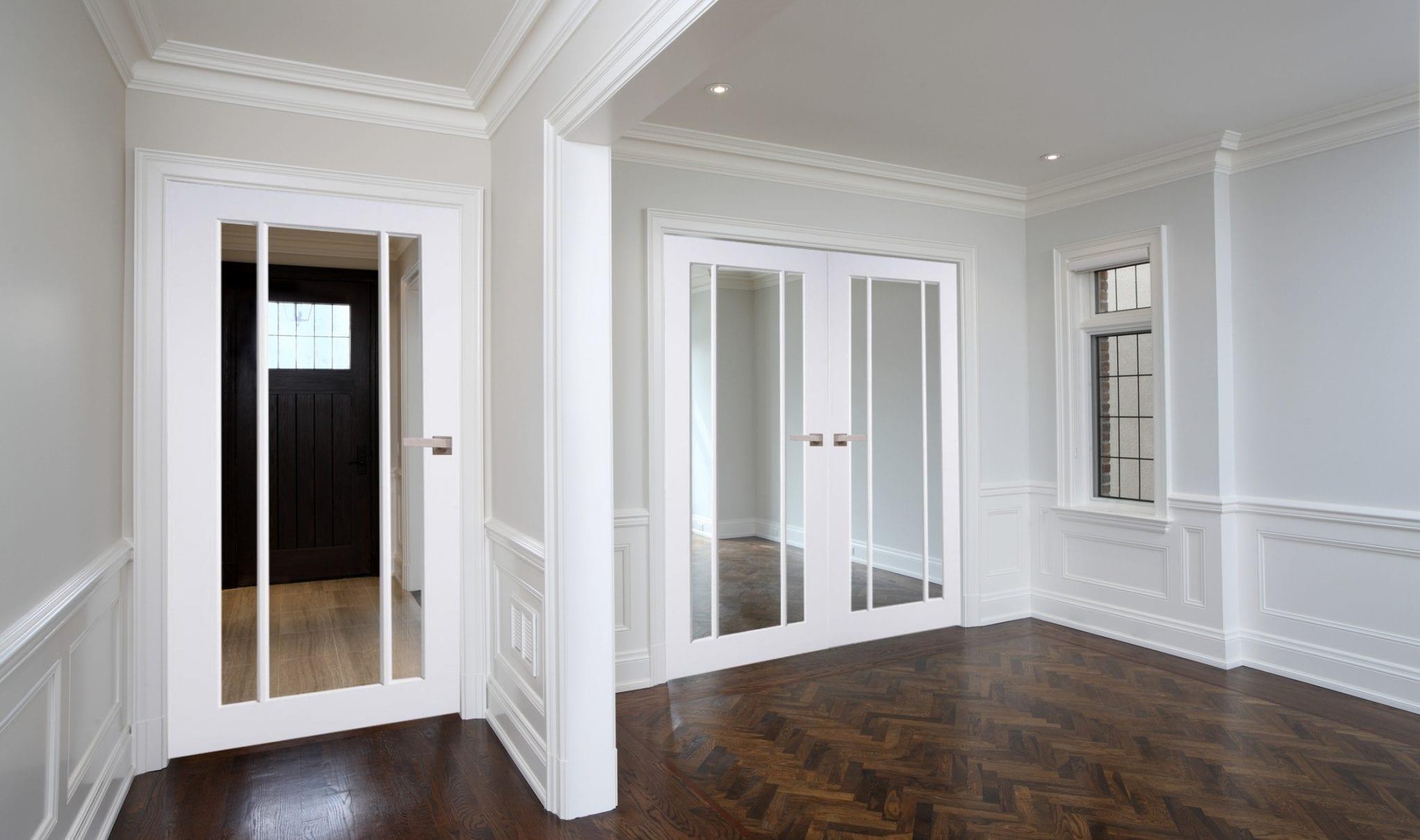 White Primed Langdale Clear Glass Internal Door Pair