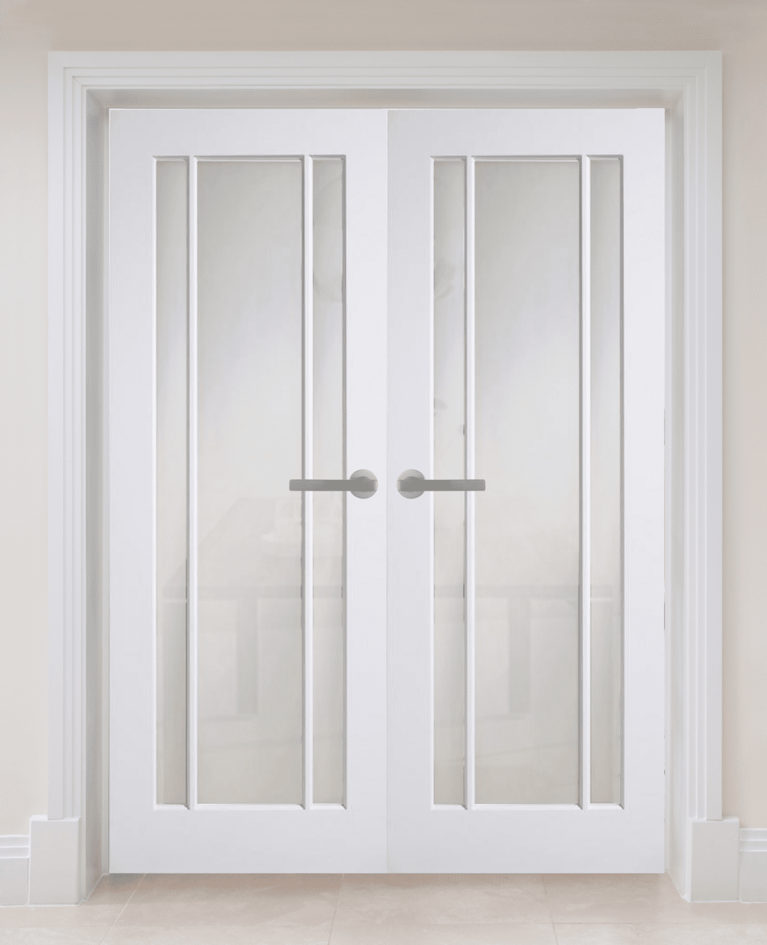 White Primed Langdale Frosted Glass Internal Door Pair