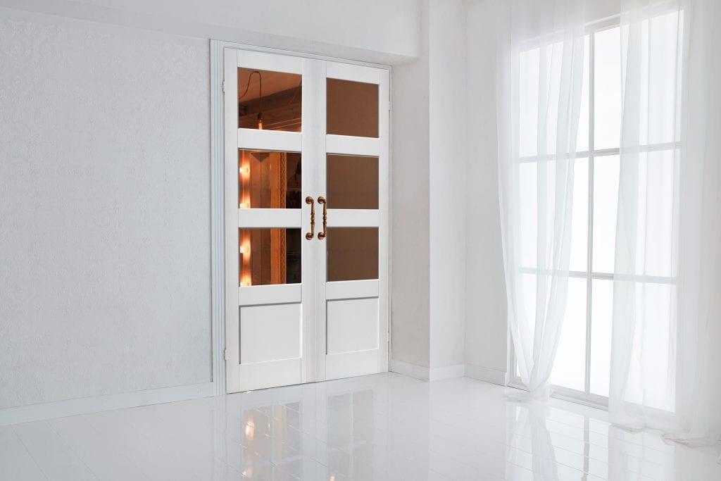 White Shaker 3 Light 1 Panel Clear Glass Internal Door