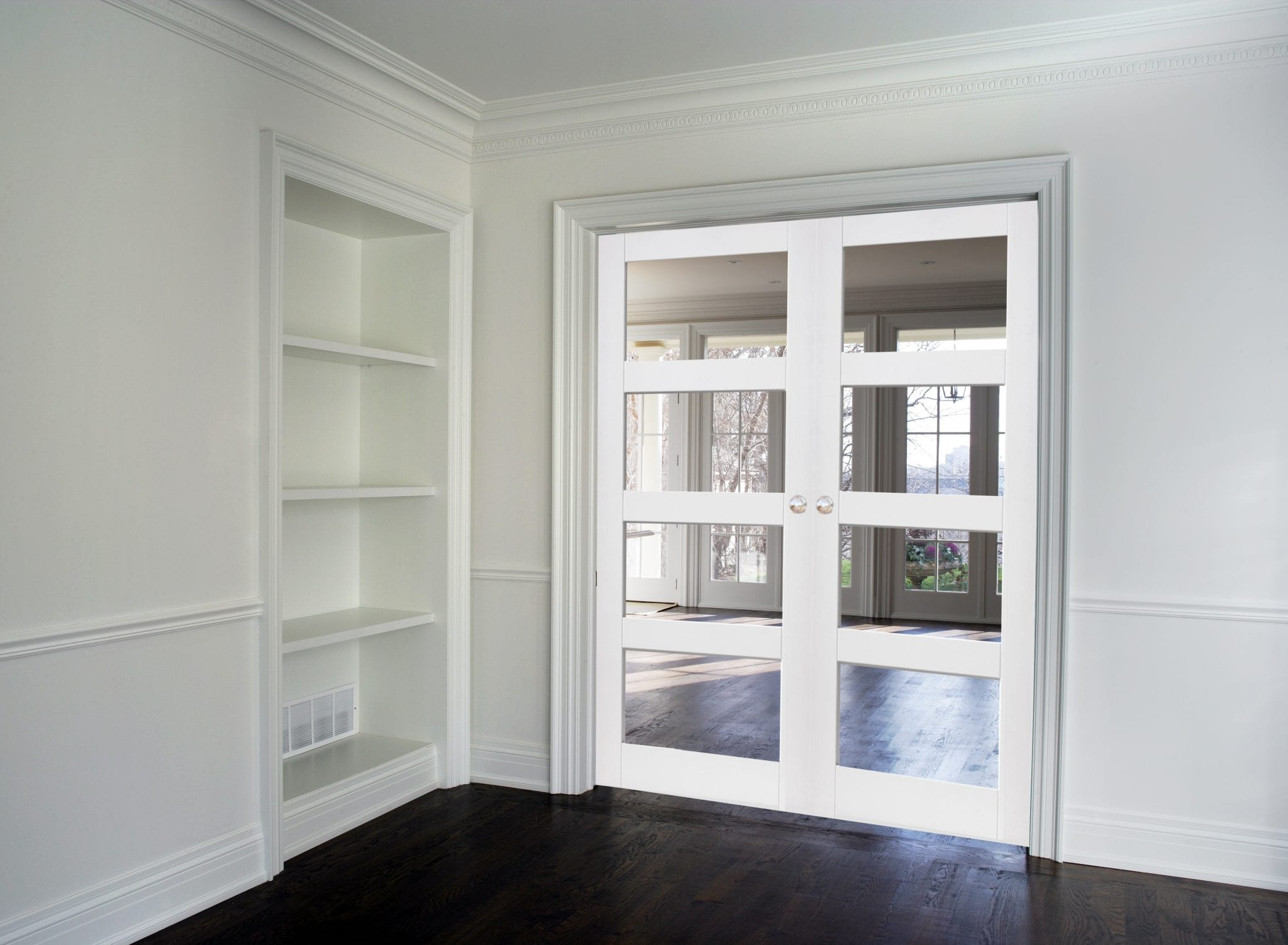 White Shaker 4 Light Clear Glass Door Pair